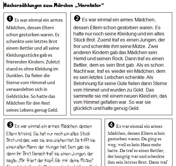 Nacherzählung Des Märchens Sterntaler Primarblog